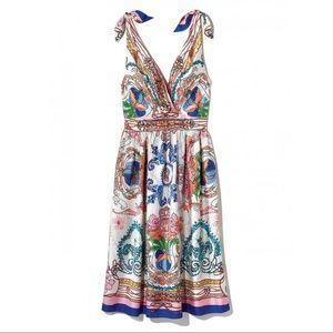 Anthro Colette Dinnigan silk scarf print dress